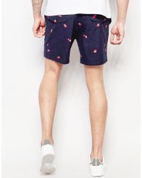 Farah - Blue Chino Short With Scattered Print - Navy for Men - Lyst