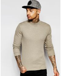 ASOS - Rib Extreme Muscle Long Sleeve T-shirt With Turtle Neck In Brown - Brown for Men - Lyst