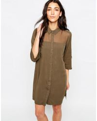 ONLY - Brown 3/4 Sleeve Shirt Dress With Mesh Yoke - Lyst