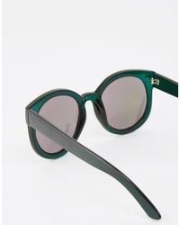 Monki - Gray Round Sunglasses With Mirrored Lenses - Lyst