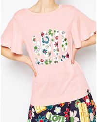Love Moschino - Pink Floral Love Woven Sleeve T-shirt - Lyst