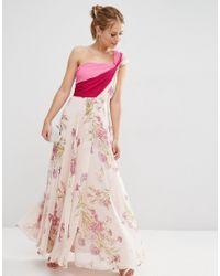 ASOS | Pink Salon Premium Colour Block Floral One Shoulder Maxi Dress | Lyst