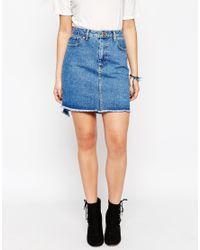 ASOS - Denim Skirt With Stepped Hem - Blue - Lyst