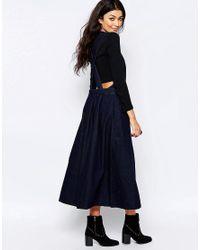 Free People - Blue Denim Apron Dress - Lyst