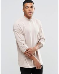 ASOS - Natural Oversized 3/4 Sleeve T-shirt With Raglan Sleeves - Beige for Men - Lyst