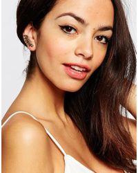 Orelia Metallic Curved Petal Cuff & Stud Multipack Earrings