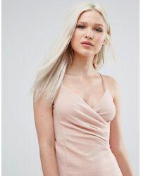 AX Paris - Pink Wrap Front Ruched Dress - Lyst