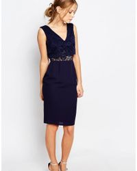 Elise Ryan | Blue 2 In 1 Lace Top Pencil Dress | Lyst