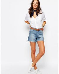 Esprit | Multicolor Chambray Boyfriend Denim Shorts | Lyst