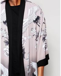 Jaded London - Gray Kimono With Ombre Floral Birds Print for Men - Lyst