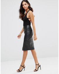 Club L - Black Body With Criss Cross Back - Lyst