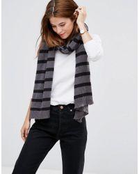 Hat Attack | Gray Stripe Scarf - Grey/black | Lyst