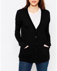 ASOS - Oversized Cardigan In Fine Knit - Black - Lyst
