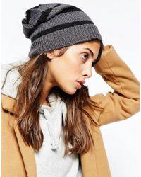 Hat Attack | Gray Stripe Beanie Hat | Lyst