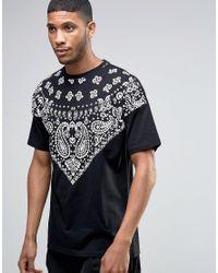 ASOS | Oversized Longline T-shirt With Bandana Yoke In Black for Men | Lyst