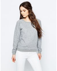 Sugarhill - Gray Betty Heart Embossed Sweatshirt - Grey Marl - Lyst