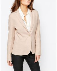 New Look - Pink Jersey Blazer - Lyst