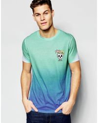 ASOS - White T-shirt With Skull Chest Print And Bright Dip Dye Effect for Men - Lyst