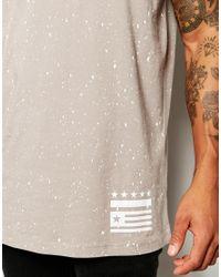 ASOS - Gray Longline T-shirt With Splatter And Flag Print for Men - Lyst