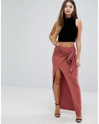 ASOS - Red Maxi Skirt With Twist Knot - Lyst