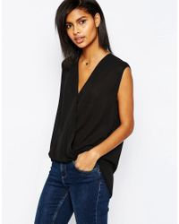 ASOS - Sleeveless Drape Wrap Blouse - Black - Lyst