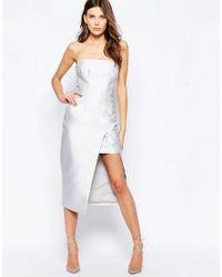 Keepsake - Gray High Rise Strapless Dress In Pale Grey - Lyst