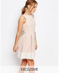 Closet | Pink Closet Lace Detail Skater Dress | Lyst