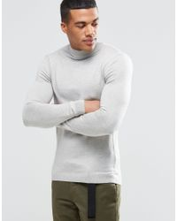 ASOS - Gray Muscle Fit Turtle Neck Jumper In Cotton for Men - Lyst