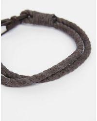 ASOS - Gray Rope Bracelet In Grey - Grey for Men - Lyst