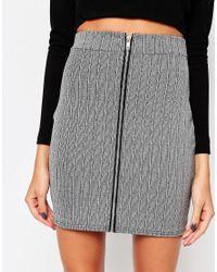 Daisy Street | Gray Zip Front Ribbed Mini Skirt | Lyst