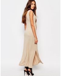 Daisy Street - Natural Maxi Vest Dress With Tie Front - Nude - Lyst