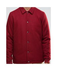 ASOS - Wool Mix Coach Jacket In Red for Men - Lyst