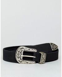 ASOS - Black Slim Leather Western Belt With Floral Emboss for Men - Lyst