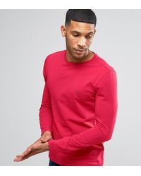 Tommy Hilfiger - Long Sleeve Top Flag Logo In Red Exclusive To Asos for Men - Lyst