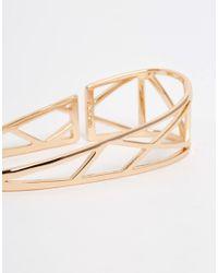 Pilgrim - Metallic Rose Gold Plated Geo Palm Bangle - Gold - Lyst