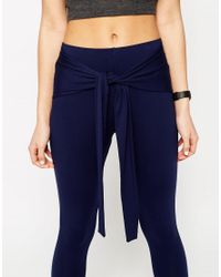 ASOS - Blue Leggings With Tie Front - Navy - Lyst