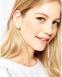 ASOS - Metallic Rose Gold Plated Sterling Silver 12mm Mini Pearl Hoop Earrings - Lyst