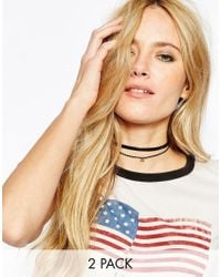 ASOS | Black Pack Of 2 Double Triangle Choker Necklace | Lyst