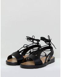 ASOS - Black Fizzle Wide Fit Jelly Tie Leg Sandals - Lyst