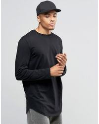 ASOS | Relaxed Longline Long Sleeve T-shirt With Curve Hem In Black for Men | Lyst