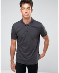 ASOS - Gray Jersey Polo Shirt In Grey for Men - Lyst