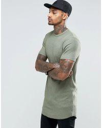 81701fd81def70 Lyst - ASOS Longline Muscle T-shirt In Waffle Fabric With Bleach ...