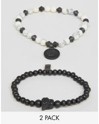 Icon Brand - Beaded Bracelets In 2 Pack - Black for Men - Lyst