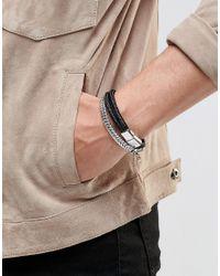 Icon Brand - Black Chain & Woven Bracelets In 2 Pack for Men - Lyst