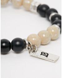 Icon Brand - Beaded Bracelet In Black/cream for Men - Lyst
