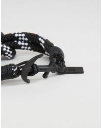 Icon Brand - Black Stripe Anchor Woven Bracelet for Men - Lyst