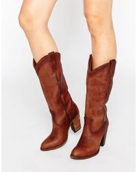 Frye | Brown Jackie Button Western Leather Heeled Knee Boots | Lyst