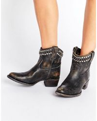 Frye   Black Diana Cut Stud Short Western Leather Ankle Boots   Lyst