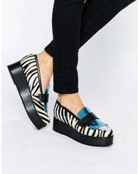 House of Holland | Blue Zebra Print Flatform Shoes | Lyst