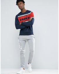 Diadora - Blue Sweatshirt With Retro Large Logo for Men - Lyst